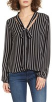 Mimichica Women's Mimi Chica Stripe Tie Neck Blouse