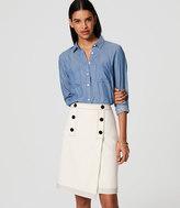 LOFT Button Front Wrap Skirt
