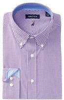 Nautica Purple Mini Gingham Classic Fit Dress Shirt