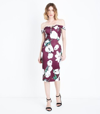 New Look AX Paris Floral Bardot Neck Midi Dress