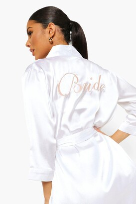 boohoo Bride Satin dressing gown