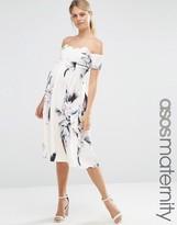 Asos Scalloped Bardot Midi Dress In Spaced Floral