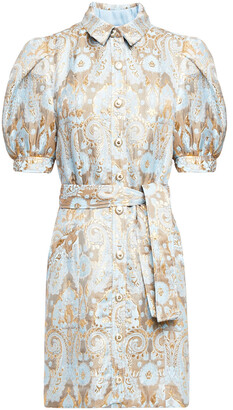 Sandro Belted Metallic Jacquard Mini Shirt Dress