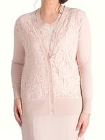 Chesca Corded Lace Trim Cardigan, Dark Blush