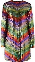 Sara Battaglia Sequined Tulle Mini Dress - Metallic