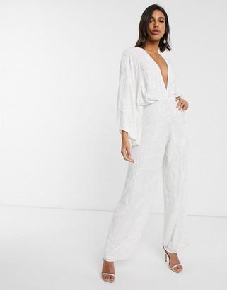 ASOS EDITION beaded kimono sleeve wide leg wedding jumpsuit