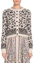 Altuzarra Leopard-Print Button-Front Cropped Wool-Blend Cardigan