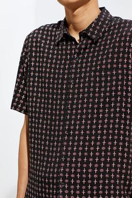 Urban Outfitters Geo Foulard Short Sleeve Button-Down Shirt