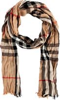 Burberry London Camel Check Merino-Cashmere Crinkled Scarf
