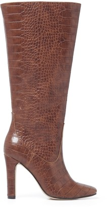 Forever New Gigi Square-Toe Riding Boots - Tan Croc - 36