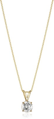 """Amazon Collection 14k Yellow Gold 16"""" Adjustable to 18"""" 4-Prong Set Round-Cut Diamond Pendant (1 cttw J-K Color I2-I3 Clarity)"""