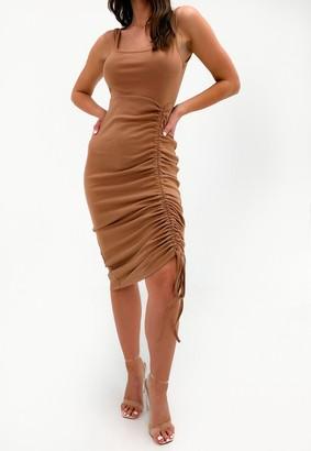 Missguided Tan Rib Ruched Front Midi Dress