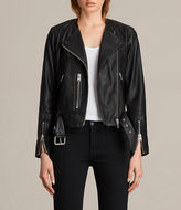 AllSaints Collarless Balfern Leather Biker Jacket