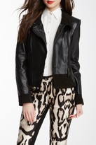 Vince Camuto Genuine Leather Funnel Neck Moto Jacket