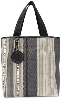 Stella McCartney logo-stripe shopper tote