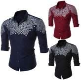 LUNIWEI Mens Stylish Slim Fit Long Sleeve Blouse Shirts