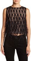 Nicole Miller Lace and Feathers Blouse