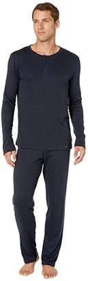 Hanro Thilo Long Sleeve Pajama (Midnight) Men's Pajama Sets