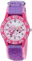 Disney Girl's 'Palace Pet' Quartz Plastic and Nylon Automatic Watch, Color:Purple (Model: W002836)