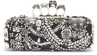 Alexander McQueen Swarovski crystal jewelled leather knuckle clutch