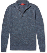 Isaia Mélange Cotton and Linen-Blend Half-Zip Sweater