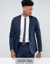 Asos Tall Skinny Blazer In Navy Cotton