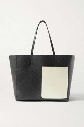 Valextra Shopper Large Two-tone Textured-leather Tote - Black