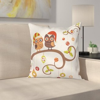 """Christmas Noel Owls Folkloric Square Pillow Cover East Urban Home Size: 16"""" x 16"""""""