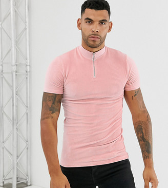 Asos Design DESIGN Tall muscle t-shirt and zip neck in ribbed velour-Pink