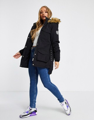 Brave Soul pam pocketed coat with faux fur trim hood