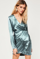Missguided Blue Silky Long Sleeve Wrap Dress