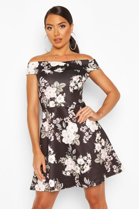 boohoo Floral Print Off The Shoulder Skater Dress