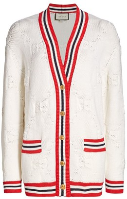Gucci Wool & Silk GG Intarsia V-Neck Cardigan