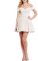 B. Darlin Off-The-Shoulder Lace Skater Dress