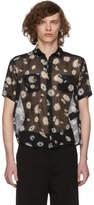 Saint Laurent Black Short Sleeve Flower Shirt