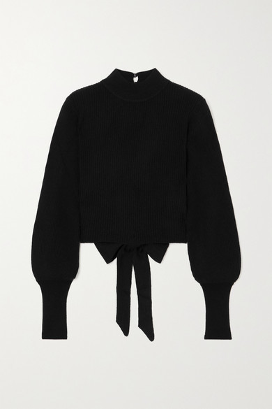 Reformation Osteria Open-back Ribbed Cashmere Sweater - Black