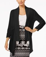 NY Collection Draped Mixed-Media Cardigan
