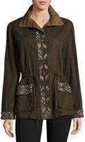 Haute Hippie Bead-Embellished Cargo Jacket, Olive