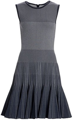 Oscar de la Renta Sleeveless Ribbed Mini Dress