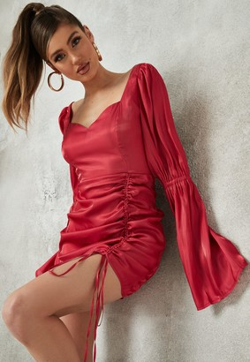 Missguided Pink Trumpet Sleeve Ruched Satin Mini Dress