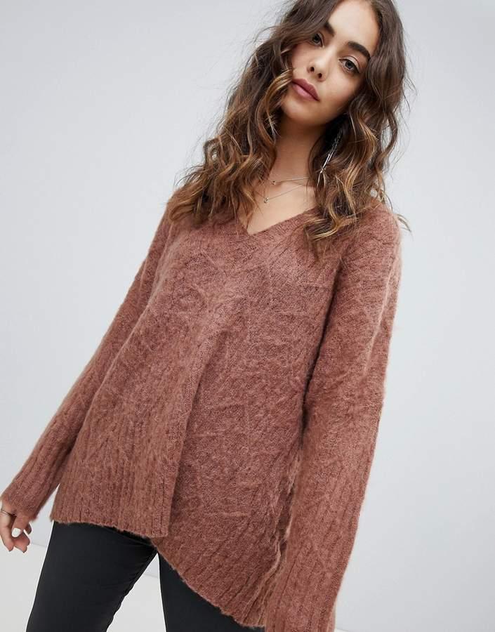 fluffy knit oversized v-neck cable knit sweater
