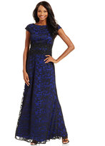 Alex Evenings Embroidered Lace Cap-Sleeve Gown