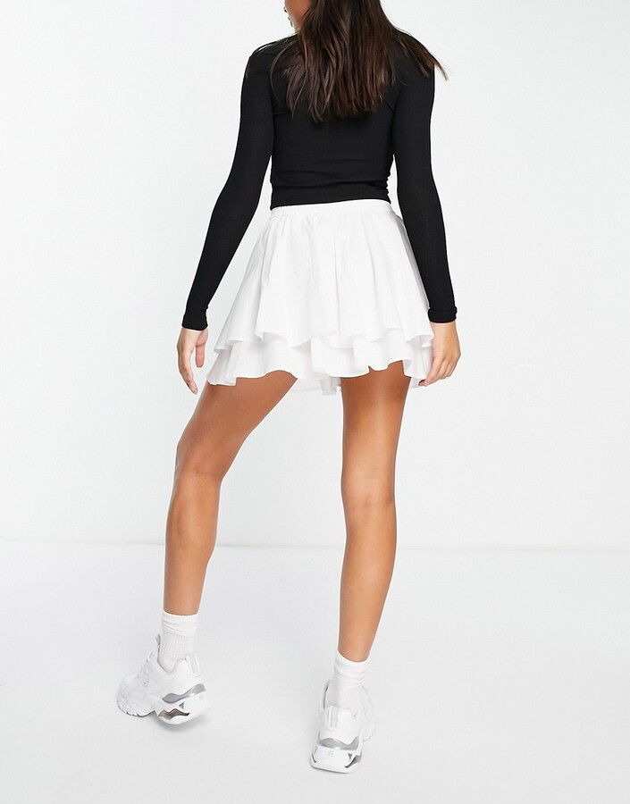Thumbnail for your product : Weekday Kate organic cotton tiered mini skirt in white