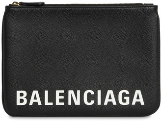 Balenciaga LOGO PRINTED GRAINED LEATHER POUCH
