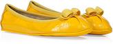 Salvatore Ferragamo Yellow Crinkle Patent Leather Ballerinas