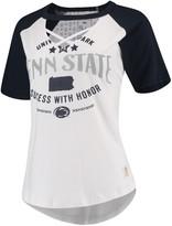 Unbranded Women's Pressbox White/Navy Penn State Nittany Lions Abbie Criss-Cross Raglan Choker T-Shirt