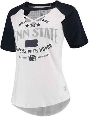 Women's Pressbox White/Navy Penn State Nittany Lions Abbie Criss-Cross Raglan Choker T-Shirt