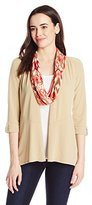 Notations Women's 3/4 Tab Sleeve Shark Bite Cozy Cardigan with Knit Inset