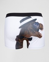 Asos Trunks With Gentleman Dinosaur Print In Microfibre