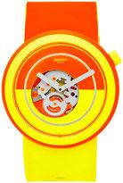 Swatch Unisex Swiss Pop Orange and Yellow Silicone Strap Watch 41mm PNO100